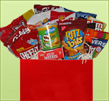 basket with assortment of popular snack and convenience foods